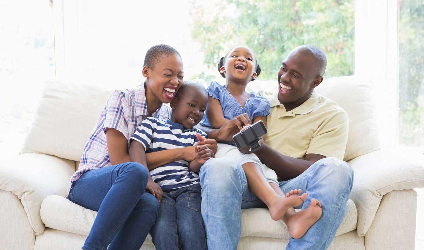 happy family having a selfie