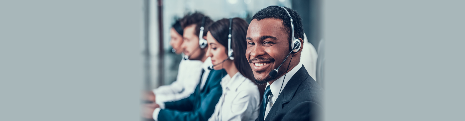 Employees wearing headset